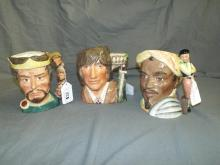 Royal Doulton Toby Jugs. Shakespearean. Lot of 3.