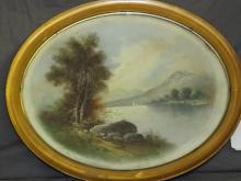 Oval Pastel Painting, River Scene by Chandler