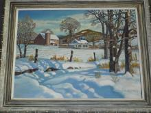 Arthur Morris, Oil on Masonite, Snow Scene
