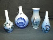 Royal Copenhagen/ B & G Vases. Lot of 4.