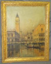 Antoine Bouvard Jr, Oil on Canvas Venice Scene