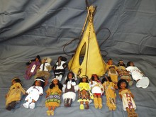 Teepee Lamp and Indian Dolls