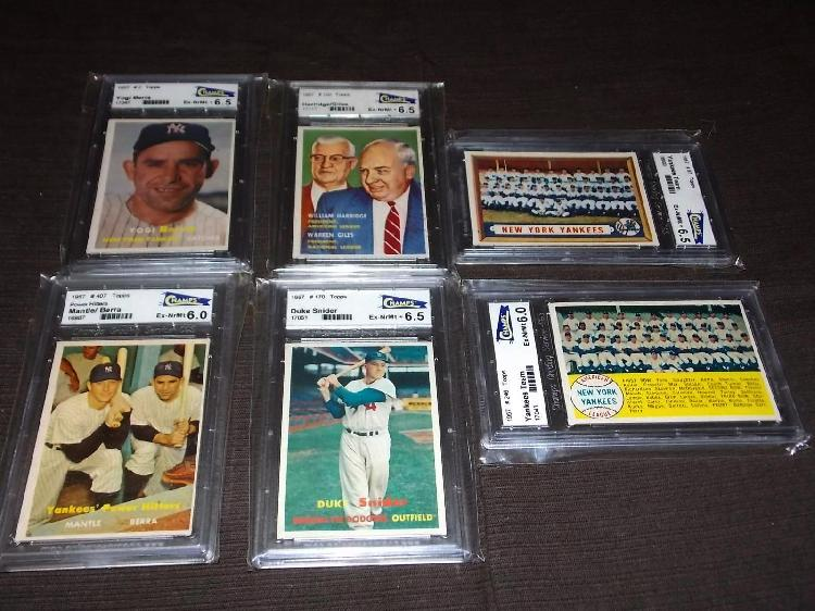 Lot of Six Graded 1957 Topps.