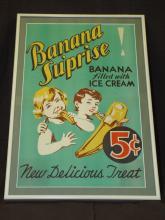 Vintage Circa 1940's-50's Ice Cream Store Sign.