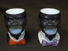 2 Porcelain Black Americana Shaving Mugs