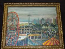 Oil on Board, Jutta Hipp, Coney Island Rides