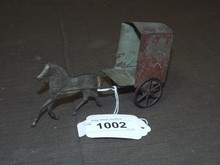 Early American Tin Toy, Horse Drawn Cart