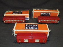 Lionel 2600, 2601, 2602 Red Passenger Cars