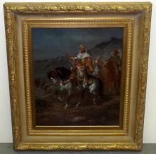 J. Franceso. Oil on Canvas. Arabs on Horseback