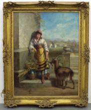 Oil on Canvas Woman With Goat.
