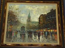 Antoine Blanchard, Parisien Street Scene Painting