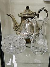 A collection of items (coffee pot,  jug &  dish)