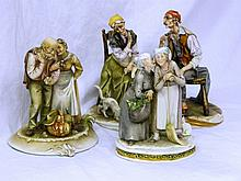 A group of two Capodimonte and a Borsato figure