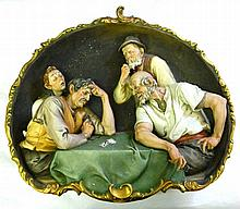 A large Capodimonte wall plaque depicting card