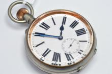 Nickel cased Goliath eight day pocket watch with a white dial and a seconds dial