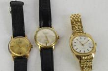 *Selection of three gentlemen's gold plated wristwatches including a Corvette and Euromatic with black leather straps (Lot subject to VAT)