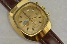*Gentlemen's gold plated Omega Seamaster chronograph wristwatch, gold coloured dial with applied black pin stripe baton hour markers, subsidiary dials at six and nine o'clock, tachymeter markings on inner bezel, 22 jeweled Omega signed automatic movement, Omega signed crown, circa 1970s, brown leather after market strap (Lot subject to VAT)