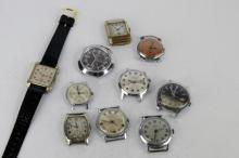 Selection of ten vintage wristwatches including Smiths, Prestige and Ardan