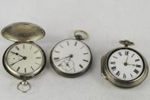 Selection of three silver cased pocket watches including a fusee movement model