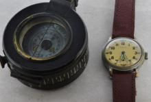Gentlemen's Timor military wristwatch and compass, circular champagne coloured dial with applied luminous hands, Arabic numerals at hour markers, subsidary dial at six o'clock, circa 1940s