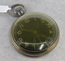 Gentlemen's military pocket watch, circular dial with Arabic numeral hour markers, outer minute track, subsidiary dial at six o'clock, caseback signed G.S.MKII 51448