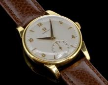 18ct yellow gold gentlemen's Omega wristwatch, circular brushed silver coloured dial, alternating Arabic numerals, subsidiary dial situated at six o'clock, manual wind 266 movement, circa 1950s, 35mm case not including crown
