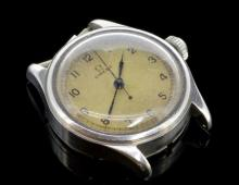 Gentlemen's Omega pilots navigator wristwatch, circular dial with natural patina, Arabic numerals at hour markers, minute track, screw down case back,  approximately 30mm case width, circa 1940s