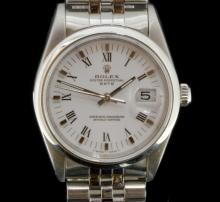 Gentlemen's Rolex Oyster Date bracelet wristwatch, circular white dial with applied polished baton hour markers, black Roman numerals, date aperture situated at three o'clock, 15200 circa 1990, Rolex Jubilee link bracelet with contrasting polished and brushed finish