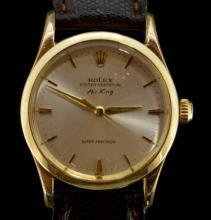 Gentlemen's Rolex Air-King, model 5506, silver coloured sunburst dial, applied baton hour markers, inlaid luminous hands, Rolex signed crown, screwdown caseback, circa 1949, brown leather watch strap