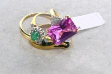 Four 9ct gold gem set rings including sapphires, emerald and diamonds, hallmarked 9ct, gross weight approximately 9.9grams