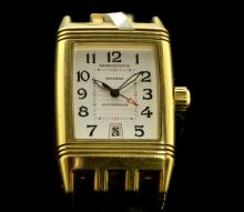 Gentlemen's 18ct yellow gold Jaeger-LeCoultre Reverso Gran Sport wristwatch, rectangular white dial with Arabic numerals, date window situated at six o'clock, automatic movement and 18ct gold Jaeger-LeCoultre signed crown