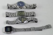 *Selection of gentlemen's bracelet wristwatches including rectangular dial Armani and Seiko automatic (Lot subject to VAT)