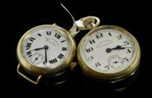 Gentlemen's West End Watch Co timepieces, two watches with white enamel dials, secondary dial situated at six o'clock, trench wristwatch is circa 1915, nickel cased with Everbright stainless steel case back numbered 3198267, dial signed Queen Anne, with Roman numerals, pocket watch is signed Matchless and nickel cased numbered 399651 circa 1920 with Arabic numerals