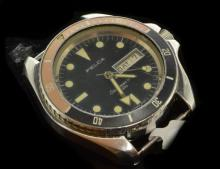 Gentlemen's Felca Seascoper III, 25 jewel automatic Swiss divers watch, circa 1970s, case size is 42mm not including crown and utilises the same case design as Heuer 844 diver, black dial with luminous hour markers and hands with day/date window at 3 o'clock