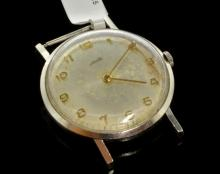 Gentlemen's Tudor wristwatch, 17 jewel manual movement, circa 1940s, stainless steel case, Rolex/Tudor signed crown, case no. 806526, circular dial with gold plated Arabic numerals and hands
