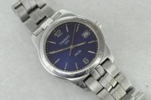 Gentlemen's Tissot PR50, blue dial with baton hour markers and date aperture, stainless steel case and bracelet, numbered 18222, quartz