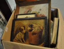 A box of old books and prints