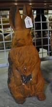 *A rusty cast iron rabbit statue, (Lot subject to VAT)