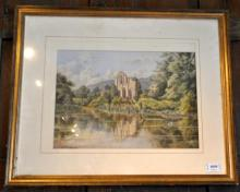 W F Sedgwick, watercolour, ruined abbey by a river