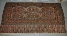 A silk Persian rug, cut and faded, 144 x 78cm