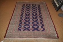 Persian rug with multiple borders and blue medallions