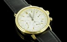 Gentlemen's 18ct yellow gold Chopard chronograph watch, circular white dial, applied baton hour markers, outer tachymetre scale, inlaid luminous hands, date aperture situated between four and five o'clock, black leather strap