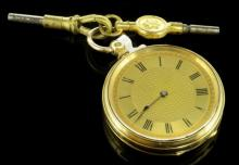 Yellow metal pocket watch, circular gilt dial with Roman numberals, stamped 18ct, gross weight approximately 42.3 grams