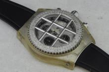 Diamond set Aqua Master chronograph wristwatch, circular mother of pearl dial with applied luminous baton hour markers, black subsidiary dials, date aperture situated at four o'clock, black rubber strap, screwdown signed crown and caseback