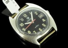 Gentlemen's Roamer Anfibio wristwatch, circular black dial, applied luminous Arabic numerals, date aperture situated at three o'clock, red/white pin stripe seconds hand, signed crown, manual movement, circa late 60s