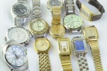 Selection of gentlemen's wristwatches including Seiko, Lorus and Jaguar automatic