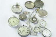 Selection of mainly silver pocket watches including fusee movement models