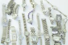 Selection of silver ladies' bracelet watches including multiple Rotary and a Bisset model
