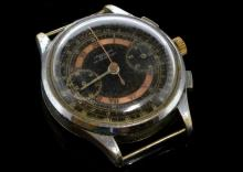Gentlemen's Leonidas chronograph wristwatch, circular patina dial with rose ring of Roman numerals at hour markers, natural patina, outer telemeter scale, subsidiary chronograph dials at three and six o'clock