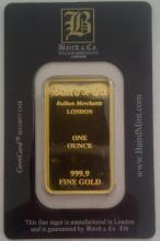 1 ounce Baird & Co 999.9 fine gold bar, in original sealed packet <br>Reserve and estimate to be set on day of sale